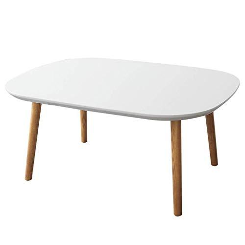 N/Z Wohngeräte Beistelltische Couchtisch Nordischer einfacher Beistelltisch Moderner Kleiner Massivholz-Beistelltisch Rechteckige kreative Farbe Weißer Teetisch (Farbe: Weiß Größe: 90x68x32cm)