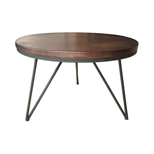 Rventric Holz Couchtisch Eisen Wohnzimmer, Sofa Tisch Verhandlungstisch Runde Computer Schreibtisch Dekoration 55 * 45 cm
