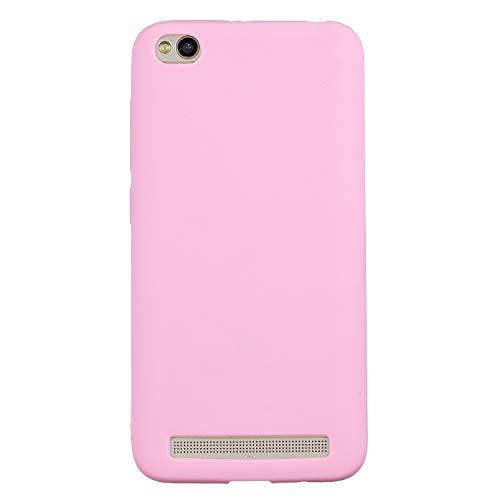 cuzz Funda para Xiaomi Redmi 5A+{Protector de Pantalla de Vidrio Templado} Carcasa Silicona Suave Gel Rasguño y Resistente Teléfono Móvil Cover-Rosa Oscuro