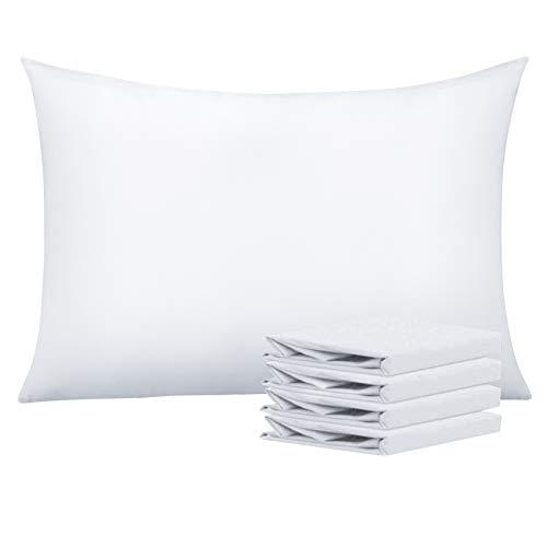 NTBAY Fundas de Almohada de Microfibra Lisa, Juego de 4 Fundas de Almohada Suaves, Antiarrugas y Resistentes a Las Manchas con Cierre de sobre, 50x75 cm, Blanco