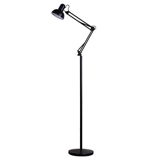 Lámpara de pie, de hierro forjado Lámpara Salón Dormitorio Estudio del Piso de Protección de ojos de luz iluminación del escritorio plegable Negro E27
