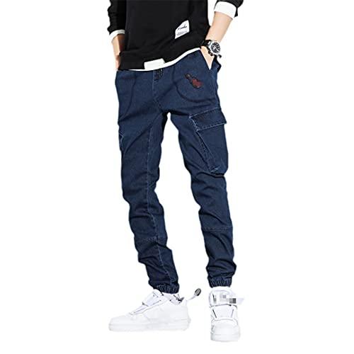 Pantalones vaqueros de carga para hombre con bolsillos laterales para hombre, pantalones de mezclilla ajustados, pantalones vaqueros negros, Blue Jeans Hombre, 5X-Large