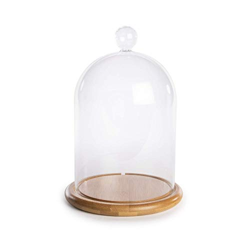 Glass Cloche Bell Jar | Dome Display Case | Glass Domes with Base | For Lights, Candles and Decorations | Apothecary Jars | M&W (Large)