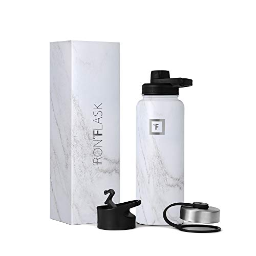 IRON °FLASK Sports Water Bottle - 32oz, 3 Lids (Spout Lid), Vacuum Insulated Stainless Steel, Hot Cold, Modern Double Walled, Simple Thermo Mug, Hydro Metal Canteen (Marble)