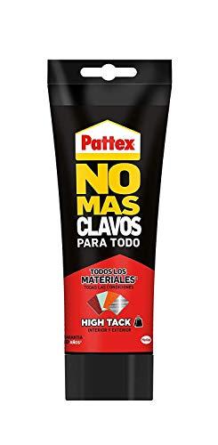 Pattex No Mas Clavos Para Todo HighTack, adhesivo de montaje resistente a temperaturas extremas, pegamento fuerte en superficies húmedas, adhesivo blanco, 1 tubo x 340 g