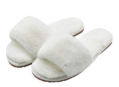 Crazy Lady Women's Fuzzy Fluffy Furry Fur Slippers Flip Flop Open Toe Cozy House Sandals Slides Soft Flat Comfy Anti-Slip Spa Indoor Outdoor Slip on (7.5-8.5 Narrow, 04/White)