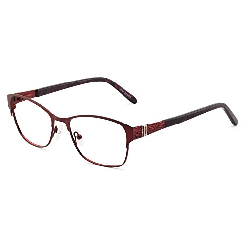 OCCI Chiari Flexible Metall-Dekoration Brille Rahmen mit Federscharnier für Frauen Gr. M, A-red(blue Light Blocking)