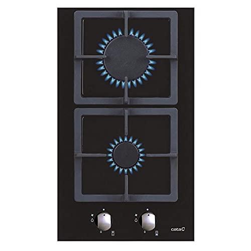 SCI 3002 BK Domino Kochfeld Einbau Gaskochfeld schwarz Glas 30 cm Gusstopfträger automatische Zündung LPG Gas (G-30) / Erdgas (G-20) (ohne LPG SET)