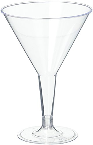 Disposable Plastic Party Cups - 16 Pcs Hard Plastic Clear Martini Glasses - 6 oz Reusable Cocktail Cups - Bulk Party Cup Supplies - Punch Drinking Cups for Weddings, Birthdays & Other Occasions