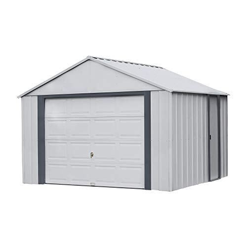 Arrow Shed 12' x 10' Murryhill Garage Galvanized Steel Extra Tall Walls Prefabricated Shed Storage Building, Flute Gray