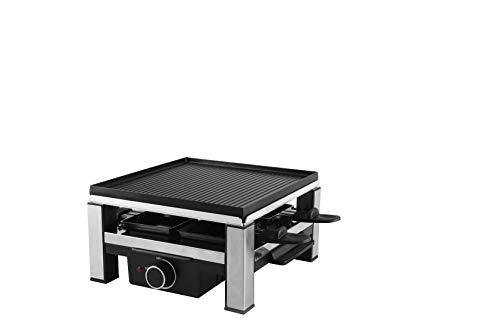 Ohmex OHM-RCL-2294 Raclette für 4 Personen, 900 W, Aluminium-Druckguss und Antihaftbeschichtung, hitzebeständig, Maße: 308 x 260 x 138 mm, Grau und Schwarz
