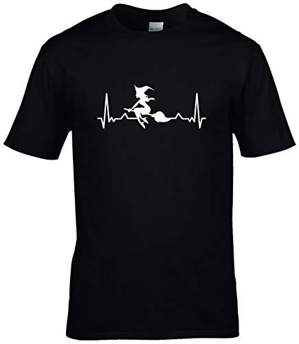BlingelingShirts Shirt Herren Hexe auf Besen Herzschlag Love Heartbeat, schwarz Druck Weiss, Gr. XL