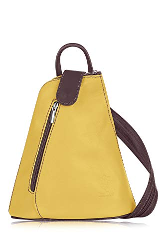Montte Di Jinne - 100% Soft Italian Leather| | Women | Backpack||Small| (LIGHT CHOCOLATE/YELLOW)
