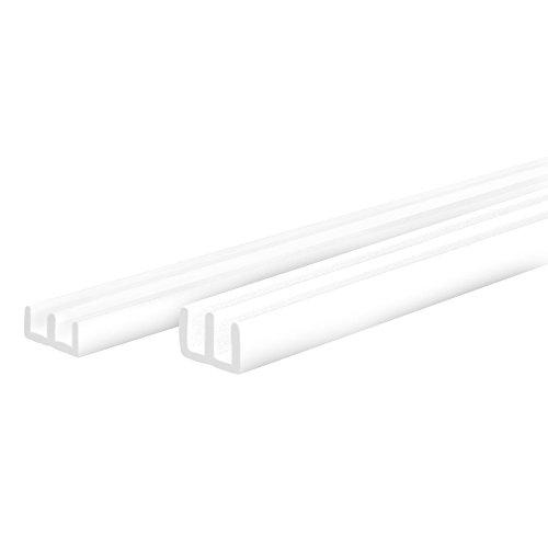 PROHEIM Glasführungs-Profil Set Oben + unten E-Profil für 4 mm Glasstärke Glasführungs-Schiene Führungs-Schiene für Terrarien Führungsprofil, Farbe:Weiß, Länge:100 cm