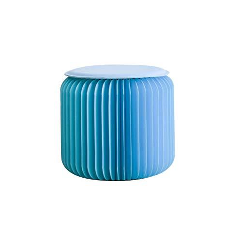 Qiansejiyijiajudengzi Taburetes Kraft Taburete Plegable de Papel con Cinta Fija Azul/Verde/Naranja/Amarillo (Color...