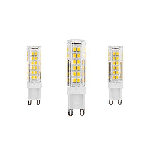 Bombillas LED G9 Equivalente a 9W Halógena de 90W Blanco Cálido 3000K 900Lumen AC220-240V Ángulo de Haz de 360 ° Lámpara de Ahorro de Energía g9 No Regulable(Paquete de 3)[Clase Energética A ++]