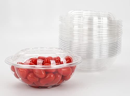 GOLDEN APPLE, 24oz-12sets, Disposable Plastic Serving Rose Bowls with Lids, Large Clear Plastic Disposable Salad Containers with Lids