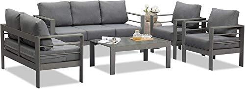 Wisteria Lane Outdoor Patio Furniture Sets, Aluminum Sectional Sofa, Grey Metal Conversation Set with Dark Grey Cushions