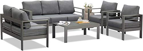 Wisteria Lane Outdoor Patio Furniture Sets, Aluminum Sectional Sofa, Grey Metal Conversation Set with Dark Grey Cushions