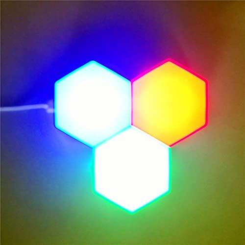 Luces para Juegos RGB, luz de Pared Modular LED Inteligente, Control de Aplicaciones, sincronización con música, Luces cuánticas de geometría Hexagonal de Empalme, para Barra de configuración de jue