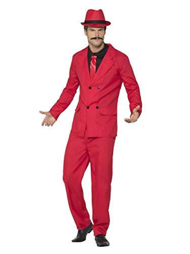 Smiffys Herren Anzug, Jacke mit wattierten Schultern, Eng zulaufende Hose, Hut, Shirt und Krawatte, Größe: XL, 44891
