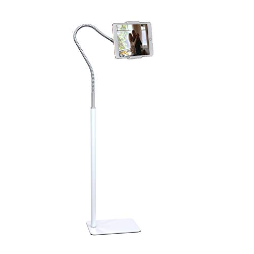 """Creatop Tablet Floor Stand with Flexible Gooseneck and Stable Aluminum Base Suitable for 3.5"""" - 10.6"""" Smart Phone & Tablet White"""