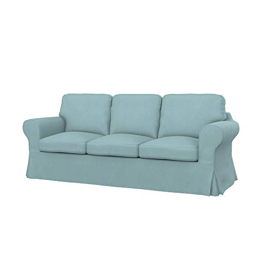 ikea sofas Soferia Replacement Cover for IKEA EKTORP PIXBO 3-seat Sofa-Bed, Fabric Majestic Velvet Light Blue
