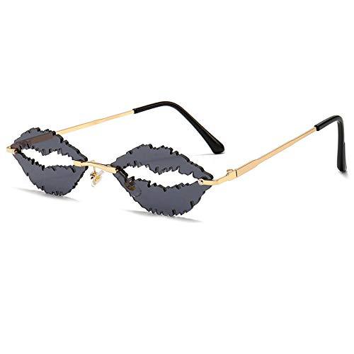 DLSM Gafas de Sol sin Montura de Moda Mujeres únicos Labios de Forma de Gafas cristalinas del océano Lente Gafas de Sol Hombres Tonos UV400 Geeignet Für Straßenaufnahmen im Freien-C1