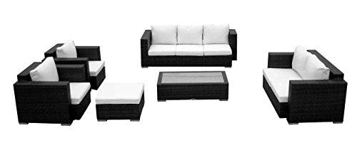 Baidani 10c00004.00001 Designer Lounge-Wohnlandschaft Daylight, 3-er Sofa, 2-er Sofa, 1 Hocker, 1 Couchtisch mit Glasplatte, 2 Sessel, Sitzauflagen, schwarz