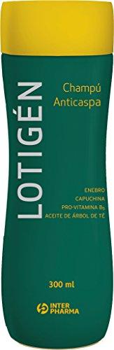 LOTIGÉN – Champú anticaspa natural con aceite del árbol de té y vitaminas. Elimina la caspa y evita el picor – 300 ml