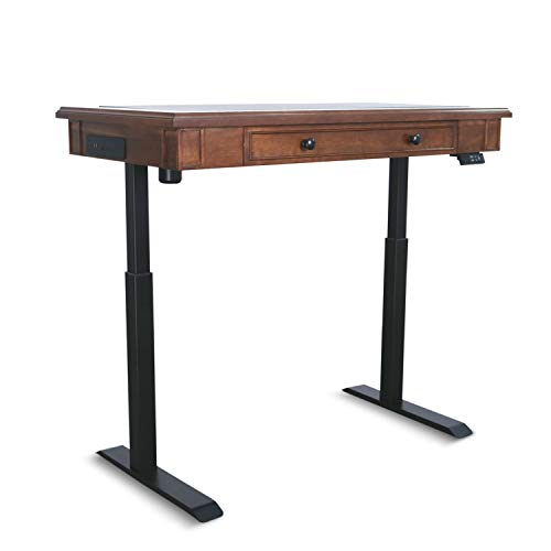 AITERMINAL Electric Standing Desk Single Motor 49.2 x 25.6 Inch Adjustable Height Desk with Inset Utility Drawer Cherry