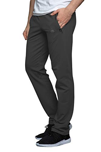 SCR SPORTSWEAR Men's Sweatpants All Day Comfort Workout Athletic Activewear Lounge Pants with Zipper Pockets Long Inseam Pants for Men (L x 30L, Charcoal-K434)