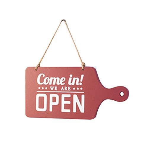 BESPORTBLE Openingstijden Teken Open Gesloten Teken Houten Winkeluren Teken Dubbelzijdig Deurteken Decor voor Pub Store Bar Koffie (rood)