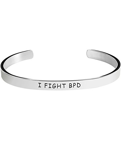 Borderline Personality Disorder Awareness Bracelet - I Fight BPD - Stamped Bracelets Jewelry Product Gifts for Men/Women