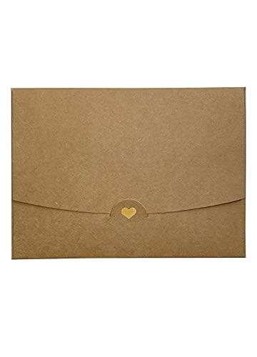 5 Briefumschläge DIN A6 Natur mit goldenem Herz veredelt Ohne Fenster 15,4 cm x 11 cm Kraftpapier