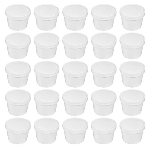 Cabilock 25 Unidades de Tazones Desechables para Postres con Tapas Tazones de Helado Recipientes Portátiles para Sopa Recipientes para Condimentos Tazas para Servir Postres Agua Helada