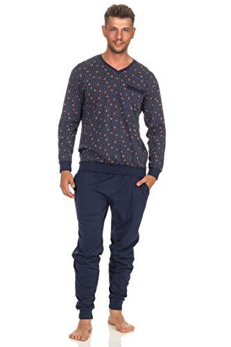 Eleganter Herren Pyjama Schlafanzug Langarm mit Bündchen und V-Hals - 102 101 90 518a, Farbe:Marine, Größe2:48