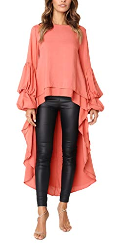 Bluse Damen Frühling Herbst Langarm Rundhals Irregular Mädchen Asymmetrisch Vokuhila Oberteile Hemden Frauen Elegante Lässig Trendigen Normallacks Tunika Tops (Color : Orange, Size : XL)