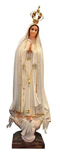 Ferrari & Arrighetti Imagen de la Virgen de Fátima de 105 cm Pintada a Mano y embellecida con Strass