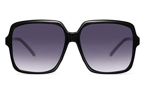 Cheapass Occhiali da Sole Oversized Quadrati a Farfalla Celebrità di Moda Occhiali Neri con Lenti Gradienti UV400 protetti Women