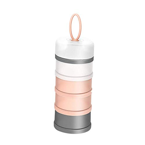 Kaptin Formula Dispenser,Non-Spill Portable Stackable Baby Milk Powder Dispenser,Snack Storage Container,BPA Free,4 Feeds (Pink)