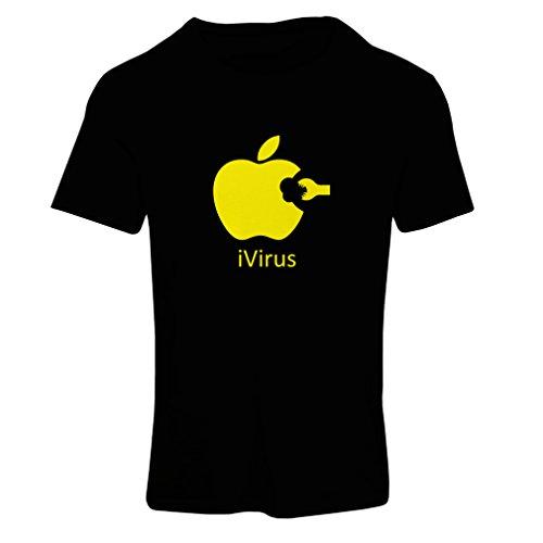 Frauen T-Shirt iVirus - Neues tech Liebhaber lustiges Geschenk (Medium Schwarz Gelb)