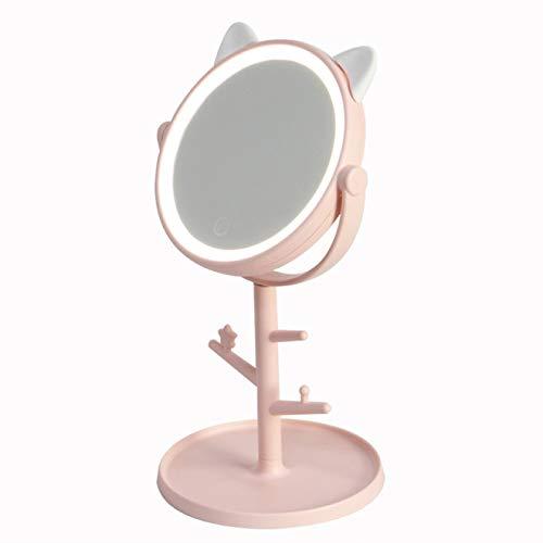 DUKAILIN Espejo Led Espejo Base de encimera de Escritorio, Soporte de Lupa Ordinario Espejo de Maquillaje con Cable USB de baño