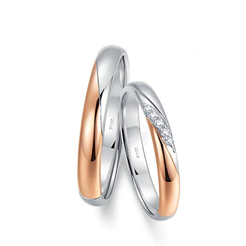 KnSam Anillo Oro de 18K, Bicolor Anillo de Bodas con Diamante Blanco 0.008ct, Mujer Talla 8 y Hombre Talla 23,5 (Precio por 2 Anillos)