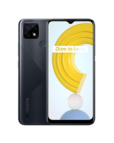 realme C21 Smartphone Libre, Batería de 5000 mAh, Pantalla completa de 6,5 Pulgadas con mini-drop, Cámara triple con IA de 13 MP, Procesador potente Helio G35, Dual Sim, 4+64GB, Cross Black