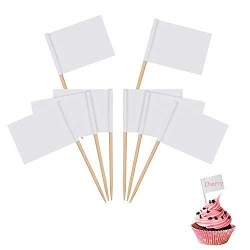 Leere Zahnstocher Flaggen Käse Marker Weiß Flaggen Kennzeichnung für Party Kuchen Lebensmittel Käseplatte Vorspeisen (200 Stücke)