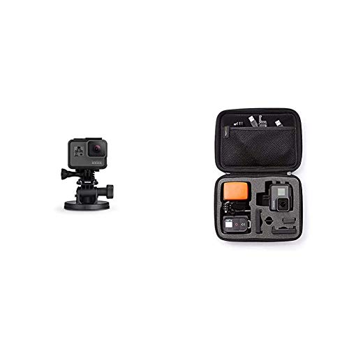 GoPro Front Saugnapfhalterung - Gebogene, vertikale Schnellspannschnalle, 2 x Schwenkarme, Rändelschrauben (Offizielles GoPro-Zubehör) & Amazon Basics Tragetasche für GoPro Actionkameras, Gr. S