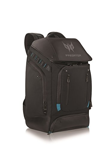Cushioned mesh back panel for ventilated Air flow Interior headset strap Water repellent coating protection and zippers Bottom pocket for power adapter Brick and personal belongings Luggage handle pass-through design