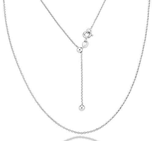 Miabella 925 Sterling Silver Italian 1.3mm Adjustable Solid Diamond Cut Thin Bolo Cable Chain Necklace for Women, Slider Chain 14-24 Inch Made in Italy (sterling silver)