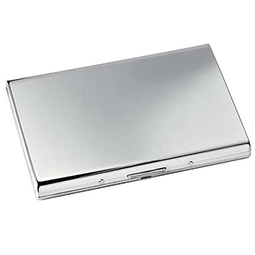 SILBERKANNE Exclusivo estuche para tarjetas de visita (10,5 x 7 cm, bañado en plata), listo para regalar con elegante paquete de regalo